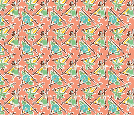 Maui Pop - Hula Honey - Coral fabric by shannanigan on Spoonflower - custom fabric