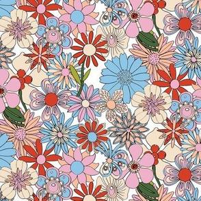 Chelsea* (Red, White & Blue) || vintage 60s 70s enamel pin brooch flower floral garden pastel sheet illustration spring summer bouquet patriotic