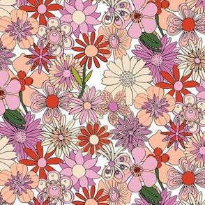 Chelsea* (Reds & Pinks) || vintage 60s 70s enamel pin brooch flower floral garden pastel sheet illustration spring summer bouquet
