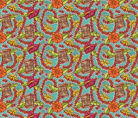 Oily Aloha - Tiki Floral - Aqua fabric by shannanigan on Spoonflower - custom fabric
