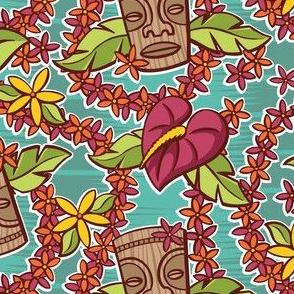 Oily Aloha - Tiki Floral - Aqua