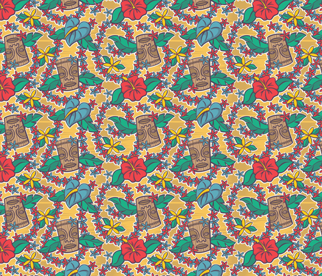 Oily Aloha - Tiki Floral - Yellow fabric by shannanigan on Spoonflower - custom fabric