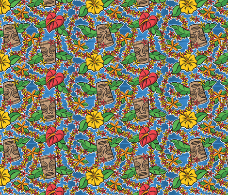 Oily Aloha - Tiki Floral - Blue fabric by shannanigan on Spoonflower - custom fabric