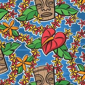 Oily Aloha - Tiki Floral - Blue