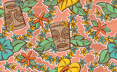 Oily Aloha - Tiki Floral - Coral