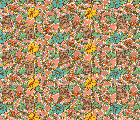 Oily Aloha - Tiki Floral - Coral fabric by shannanigan on Spoonflower - custom fabric