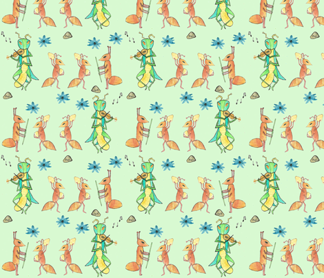 ant_and_grasshopper fabric by pamelachi on Spoonflower - custom fabric