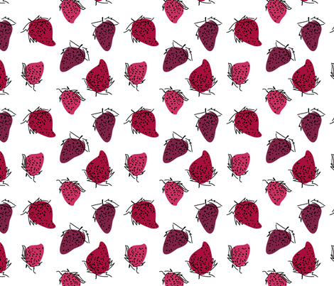 Strawberries fabric by elinestelle on Spoonflower - custom fabric