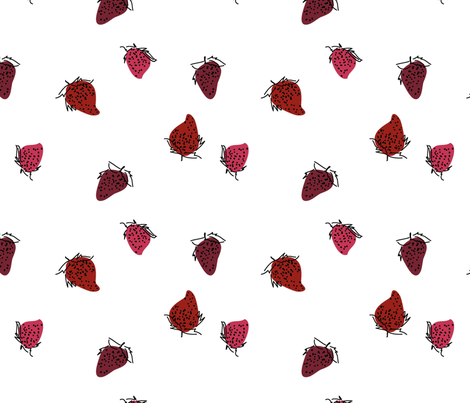 Strawberries fabric by elinestelle on Spoonflower - custom fabric