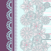 Pink and Purple Floral Stripes Border