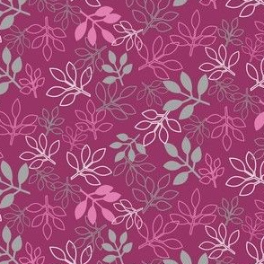 Pink and Gray Rose Leaf Prints by Amborela