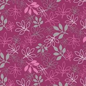 Pink and Gray Rose Leaf Prints by Amborela