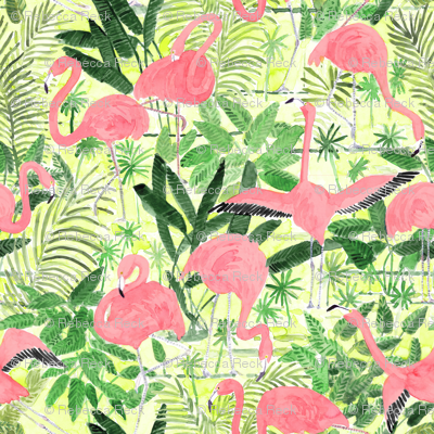 Watercolor Flamingos  with tropical, green palm leaves