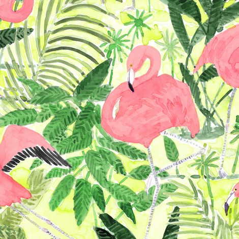 Watercolor Flamingos  with tropical, green palm leaves fabric by rebecca_reck_art on Spoonflower - custom fabric