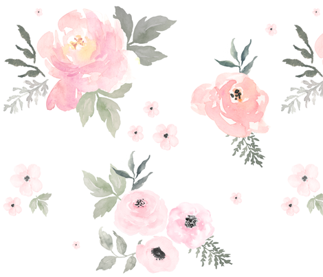 "36"" Sweet Blush Roses fabric by shopcabin on Spoonflower - custom fabric"
