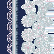 Blue and Pink Floral Stripe Border