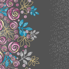 Large Floral Rose Border in Pink, Blue, Yellow, Gray