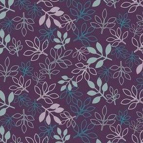 Purple and Aqua Rose Leaf Prints