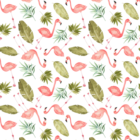 Tropical Flamingos scattered fabric by mintpeony on Spoonflower - custom fabric