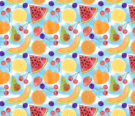 Watercolor Fruit fabric by chiral on Spoonflower - custom fabric