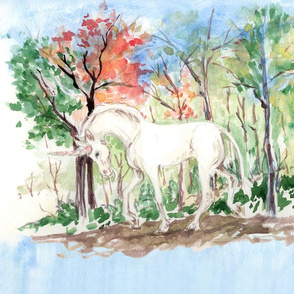 Watercolor Unicorn in Woods for Pillow