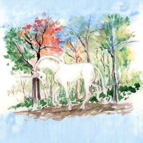 Watercolor Unicorn in Woods for quilt blocks