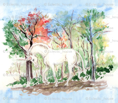 Watercolor_unicorn_in_woods_for_pillow_rev_preview