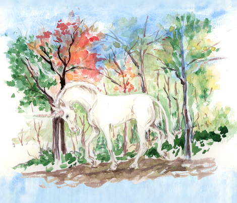 Watercolor Unicorn in Woods for Placemats fabric by eclectic_house on Spoonflower - custom fabric