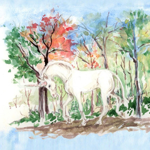 Watercolor Unicorn in Woods for Placemats