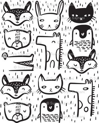 Animal Faces - Medium