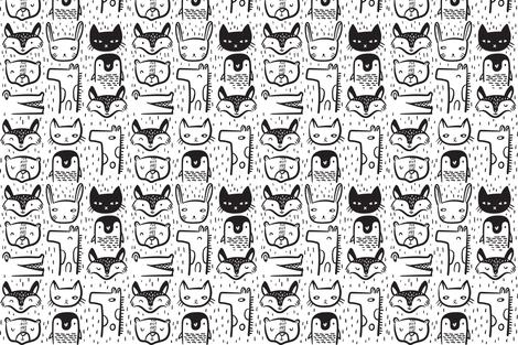 Animal Faces - Medium fabric by weegallery on Spoonflower - custom fabric