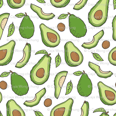 Avocado  Fabric on White
