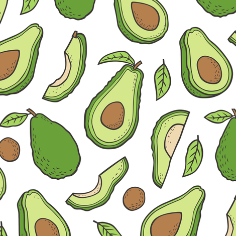 Avocado  Fabric on White fabric by caja_design on Spoonflower - custom fabric