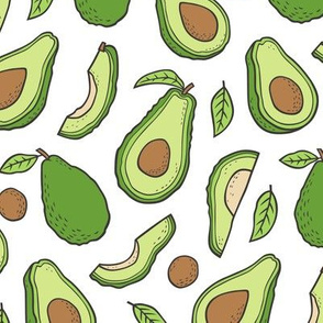 Avocado  Fabric on White