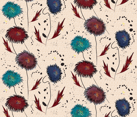 Abstract Floral with ink splatters fabric by vanillabeandesigns on Spoonflower - custom fabric