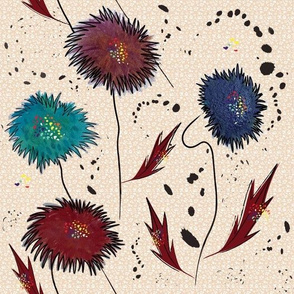 Abstract Floral with ink splatters