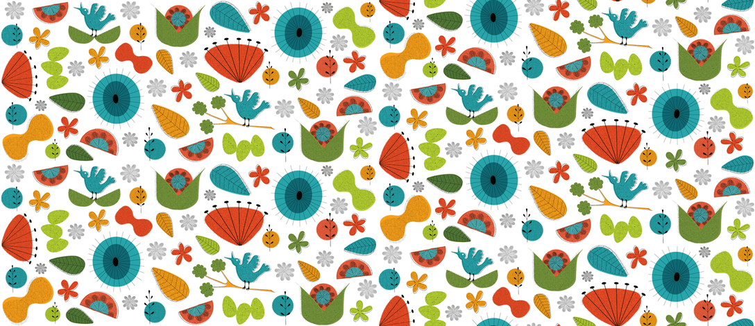 Mid-Century Floral #5; Tiny fabric by vanillabeandesigns on Spoonflower - custom fabric