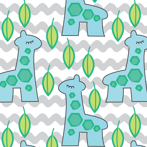 giraffe-collection---large- blue giraffes fabric by lilcubby on Spoonflower - custom fabric