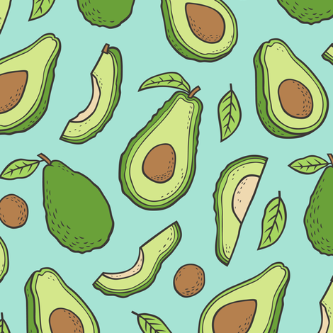 Avocado  Fabric on Mint Green fabric by caja_design on Spoonflower - custom fabric