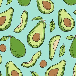 Avocado  Fabric on Mint Green