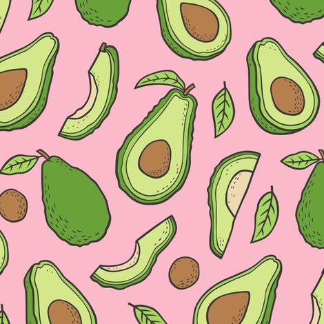 Avocado  Fabric on Pink fabric by caja_design on Spoonflower - custom fabric