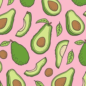 Avocado  Fabric on Pink