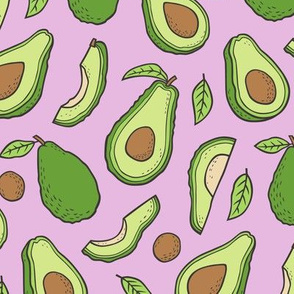 Avocado  Fabric on Purple