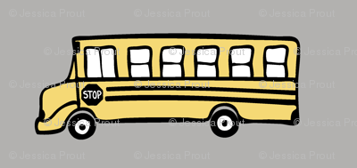 school bus on grey