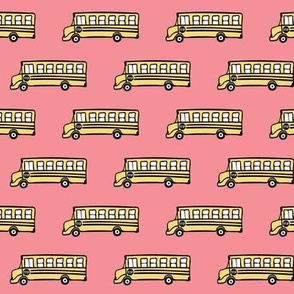 school bus on pink