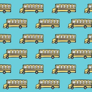 school bus on blue