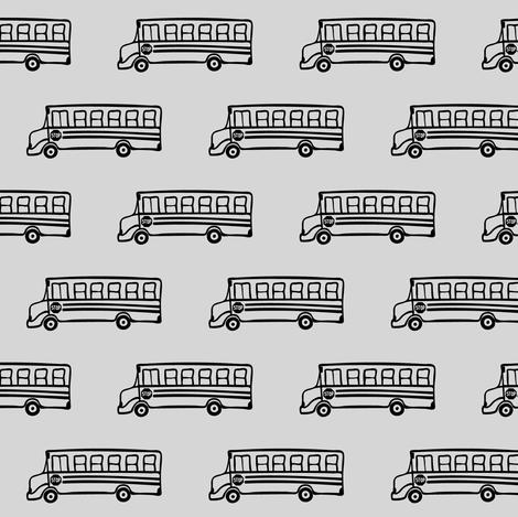 school bus on grey fabric by littlearrowdesign on Spoonflower - custom fabric