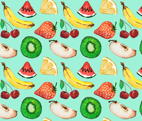 Fruit salad in blue fabric by bethramsden on Spoonflower - custom fabric