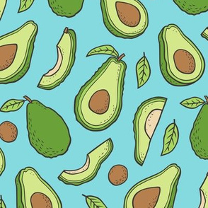 Avocado  Fabric on Blue