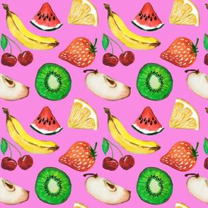 Fruit salad in pink